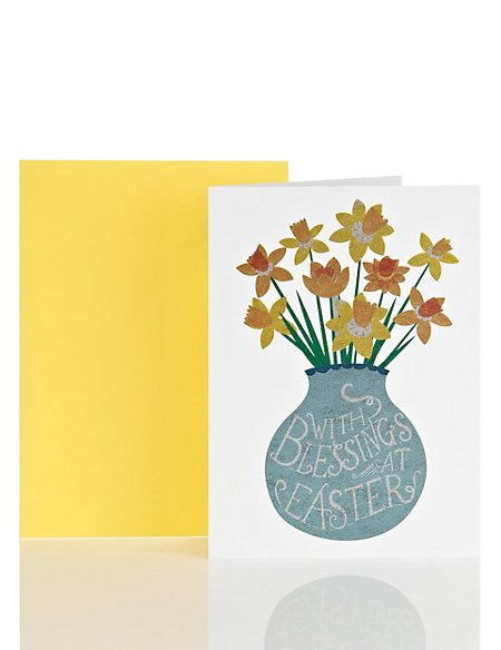 Classic Daffodil Vase Easter Card Ms