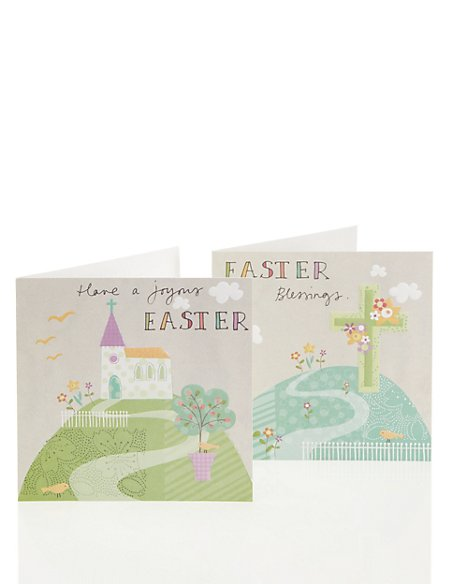 Pastel Church Scene Multipack Easter Cards