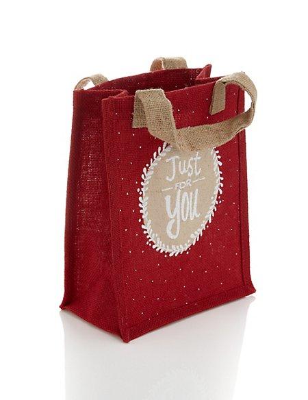 Red Hessian Reusable Medium Christmas Gift Bag | M&S