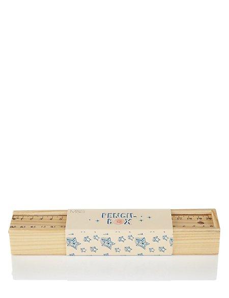 Boutique Wooden Pencil Box with Pencils