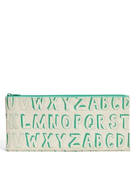 Boutique Green Alphabet Pencil Case