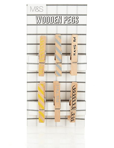 Contemporary Text Set of 6 Wooden Pegs