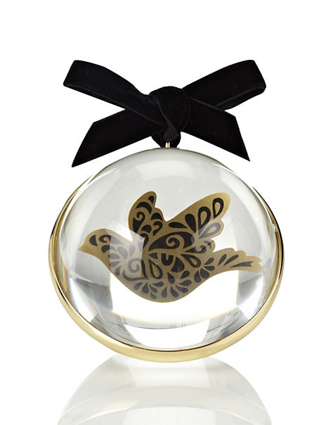 Dove Filled Paperweight Style Christmas Room Decoration