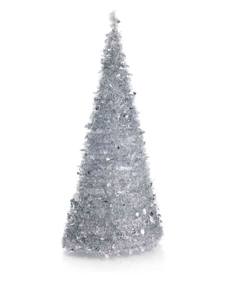 6ft Silver Tinsel Instant Pre-Lit Tree | M&S
