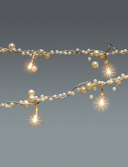 18m pearl garland with 20 warm white battery led christmas lights