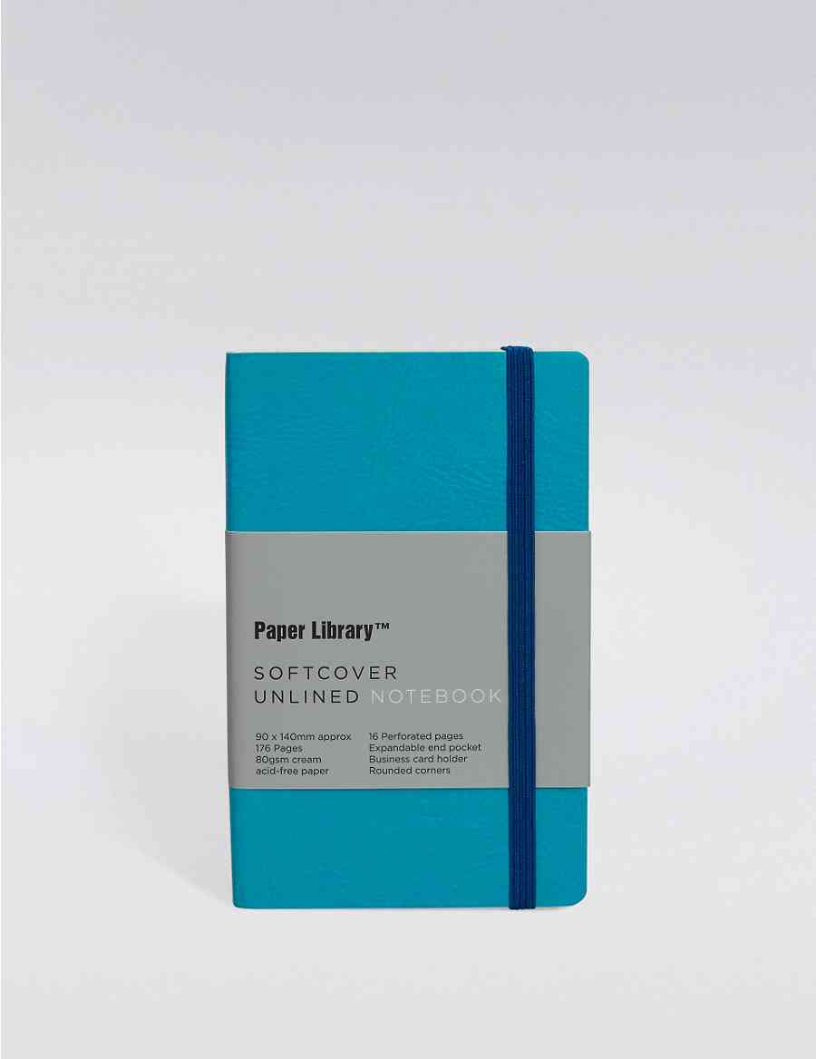Vintage Style Blue Softcover A6 Notebook Paper Library Ms