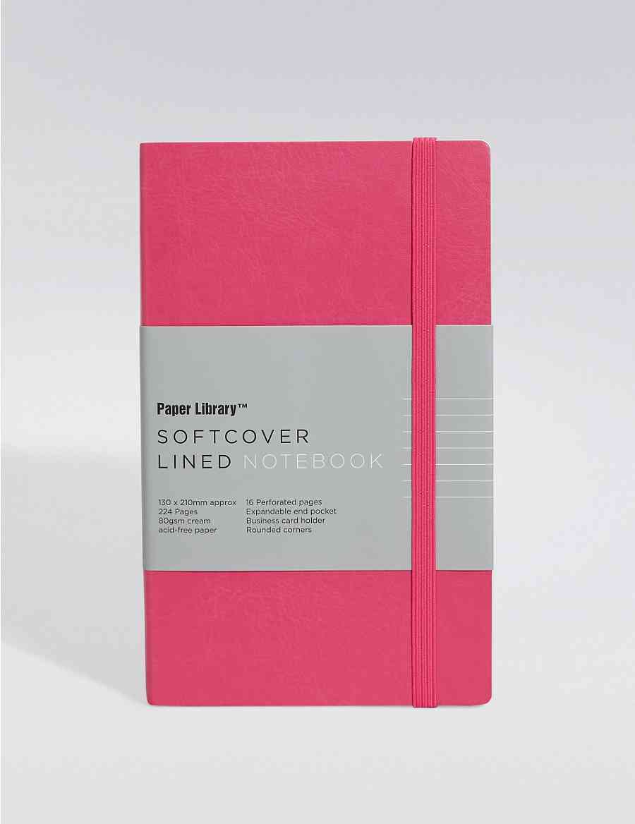 Vintage Style Pink Softcover A5 Notebook Paper Library Ms