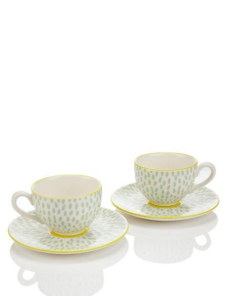 Set of 2 Ceramic Cup & Saucers