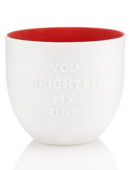 You brighten My Day Porcelain Tea Light Holder
