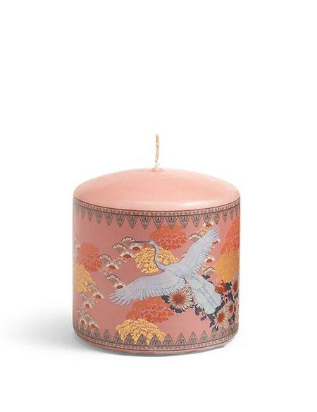 Short White Heron Pillar Candle