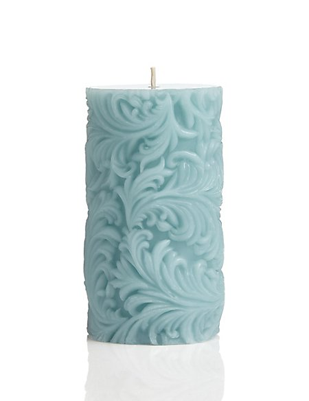 Medium Quill Engraved Pillar Candle