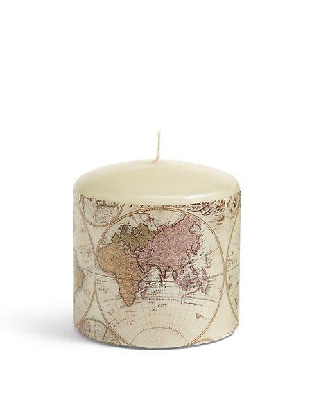 Short Map Pillar Candle