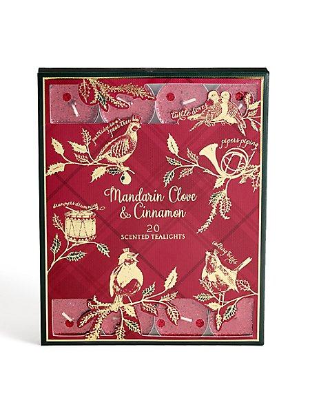 Mandarin, Cinnamon & Clove Scented 20 Pack Glitter Tea Lights