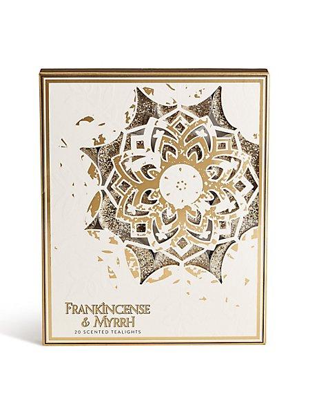 Frankincense & Myrrh 20 Pack Glitter Tea Lights
