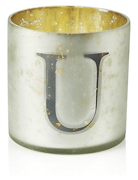 Mercury Glass Votive U Tea Light Holder