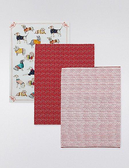 3 Assorted Print Tea Towels