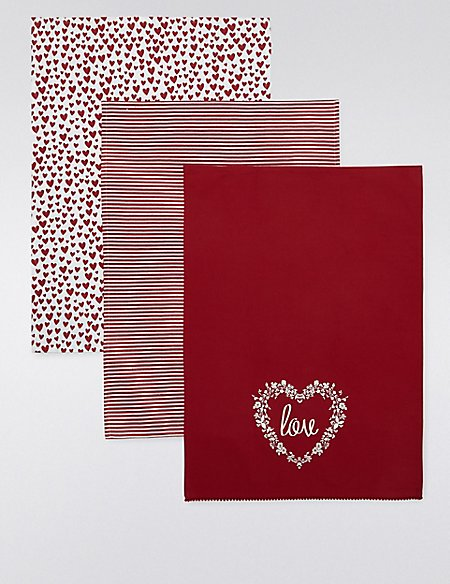 3 Hearts Tea Towel