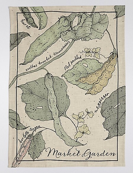 Peapod Print Tea Towel