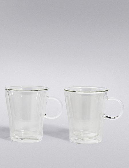 2 Walled Coffee Beaker Mugs