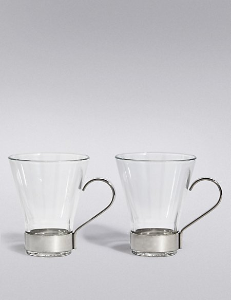 2 Cappuccino Glass Mugs