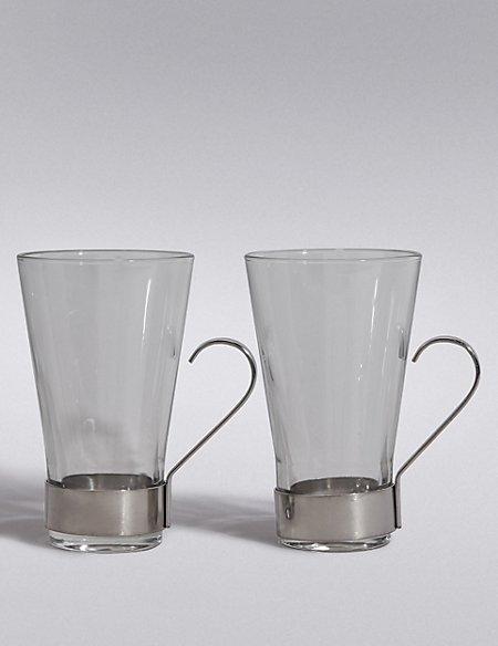 2 Glass & Metal Latte Mugs
