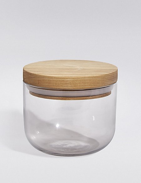 Small Storage Jar with Wooden Lid