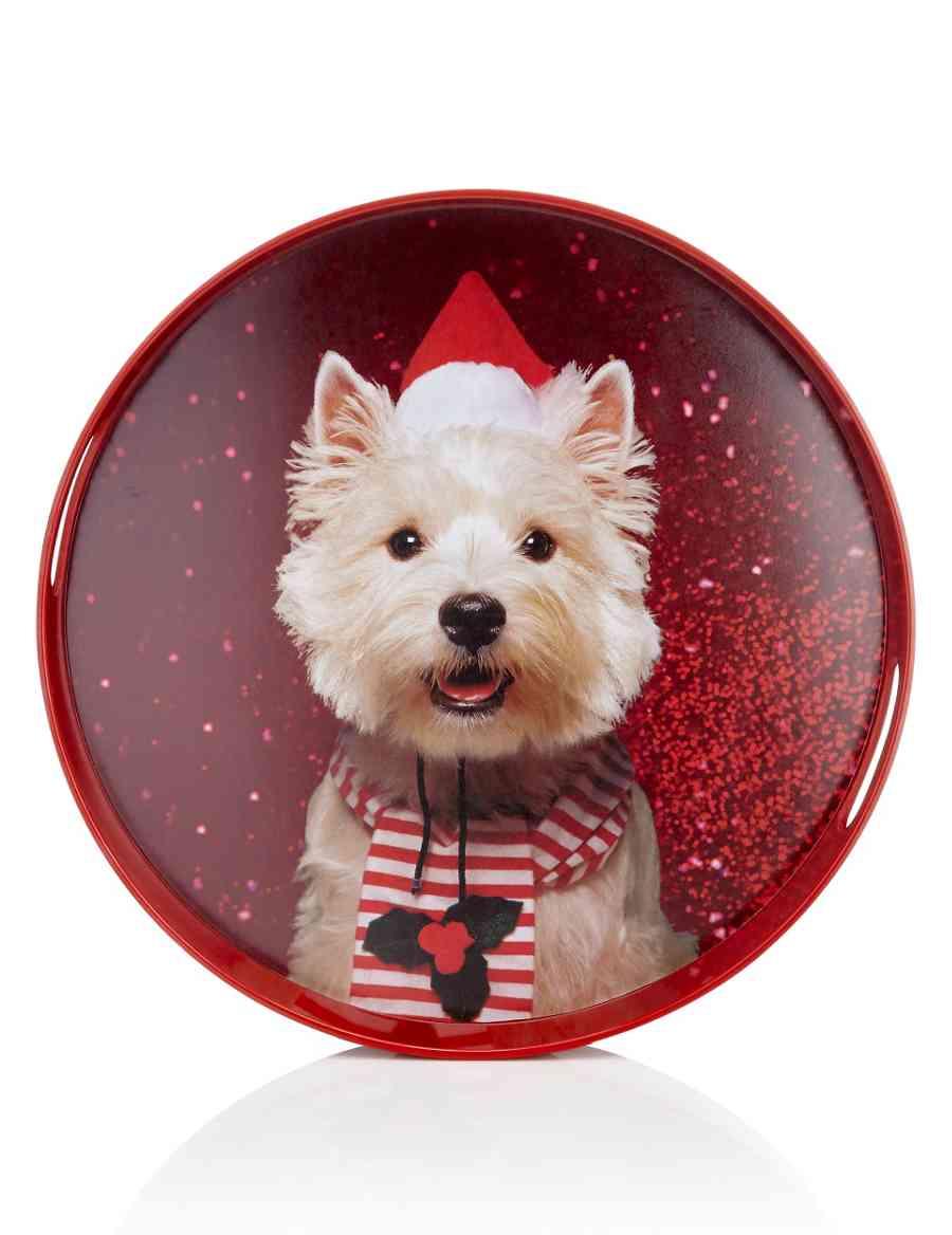 Christmas Westie Dog Round Tray | M&S