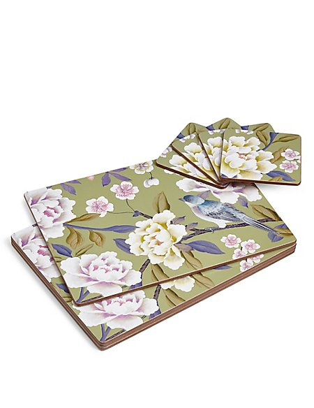 Bird Floral Cork Mats & Coasters