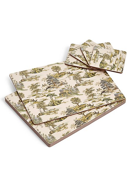 Forest Toile Cork Mats & Coasters
