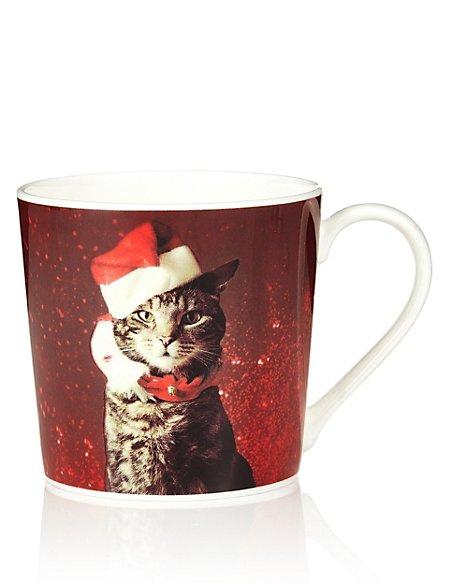 Digital Christmas Cat Mug