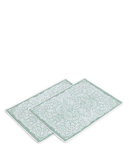 Fleur Lace Print Placemat 2Pk