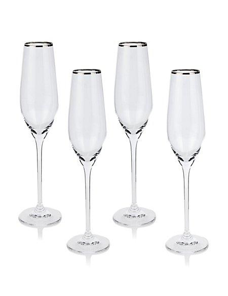 4 Maxim Platinum Champagne Flute Glasses