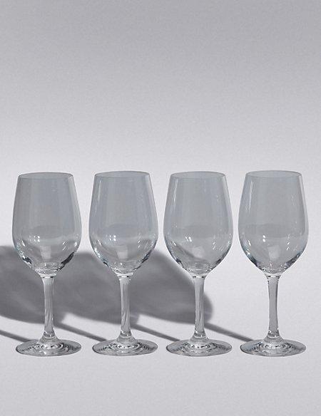 Set of 4 Clear Plastic Picnic Wine Glasses