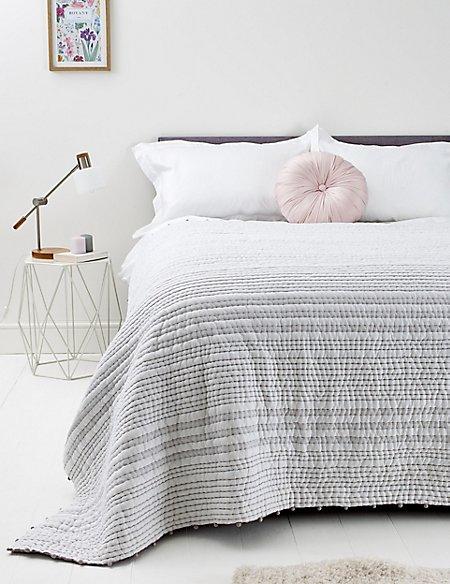 Cotton Pom-Pom Striped Bedspread