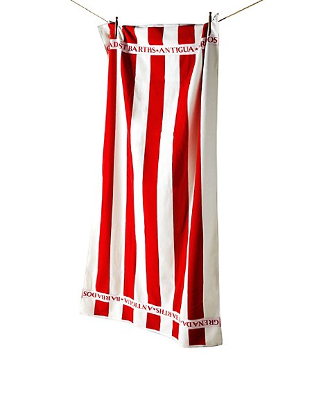 Oversized Coastal Striped Beach Towel