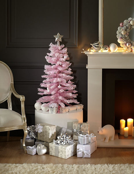 3ft Snow Effect Pink Christmas Tree
