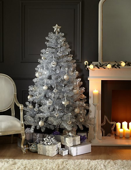 6ft Silver Tinsel Christmas Tree | M&S