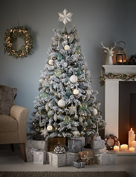 6Ft Snowy Woodland White Flock Christmas Tree - 6Ft Snowy Woodland White Flock Christmas Tree M&S