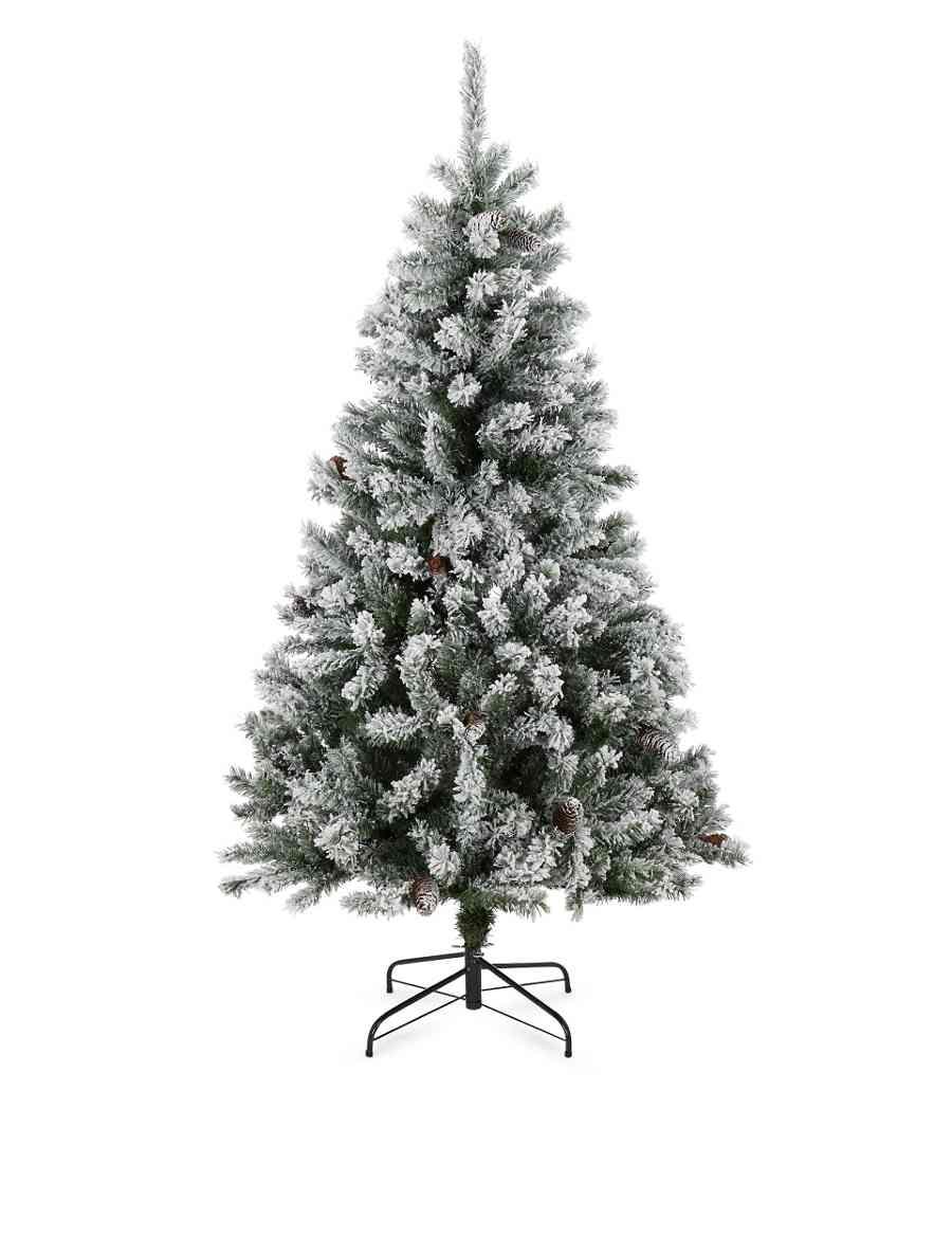 6Ft Snowy Woodland White Flock Christmas Tree | M&S