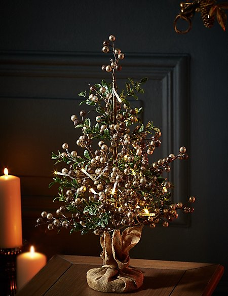 1.5ft Lit Gold Berry Christmas Tree