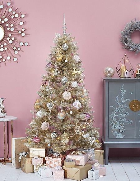 6ft Gold Tinsel Christmas Tree
