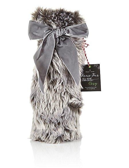 Faux Fur Wine Bottle Bag