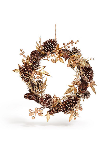 15in Gold Pinecone Leaf Wreath
