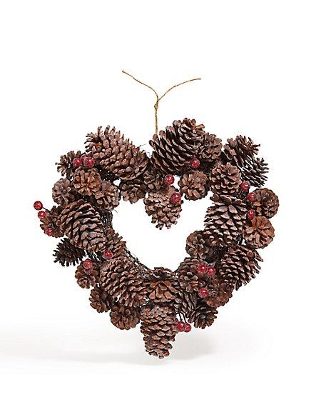 15in Heart Pinecone Wreath