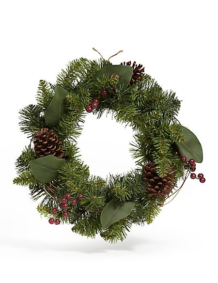 16in Red Berry Pinecone Wreath
