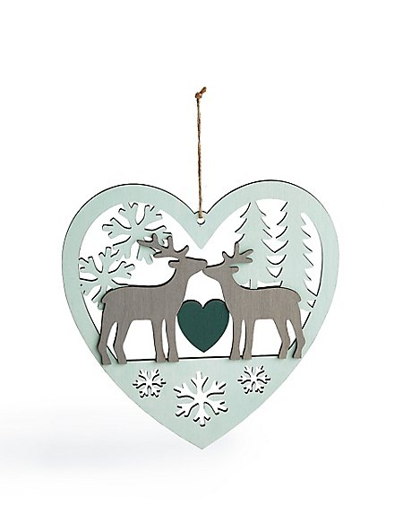 Wood Heart with Stag