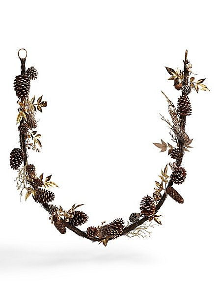 6ft Gold Pinecone Leaf Garland