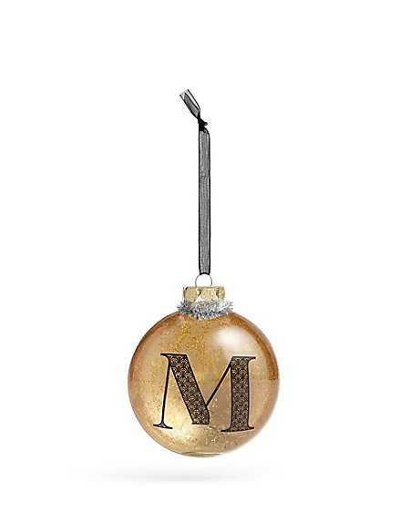 Glass Letter M Bauble