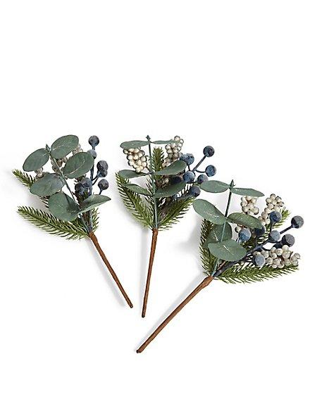 3 Pack Grey Berry Tree Picks