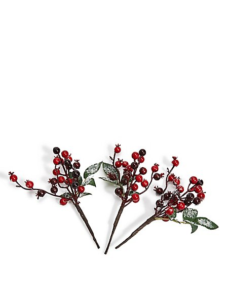 3 Pack Red Berry Tree Picks